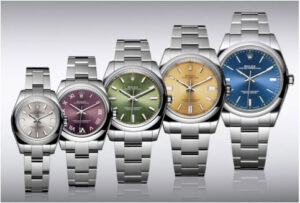 Five different sized watches