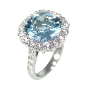 18ct white gold blue topaz and diamond ring