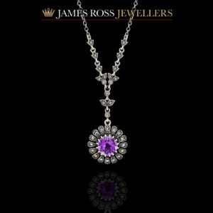 Sterling silver amethyst and marcasite necklace
