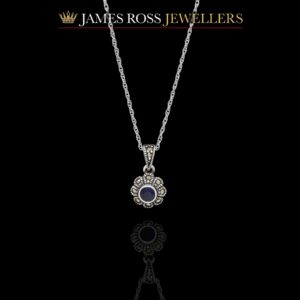 Sterling silver blue sapphire and marcasite necklace