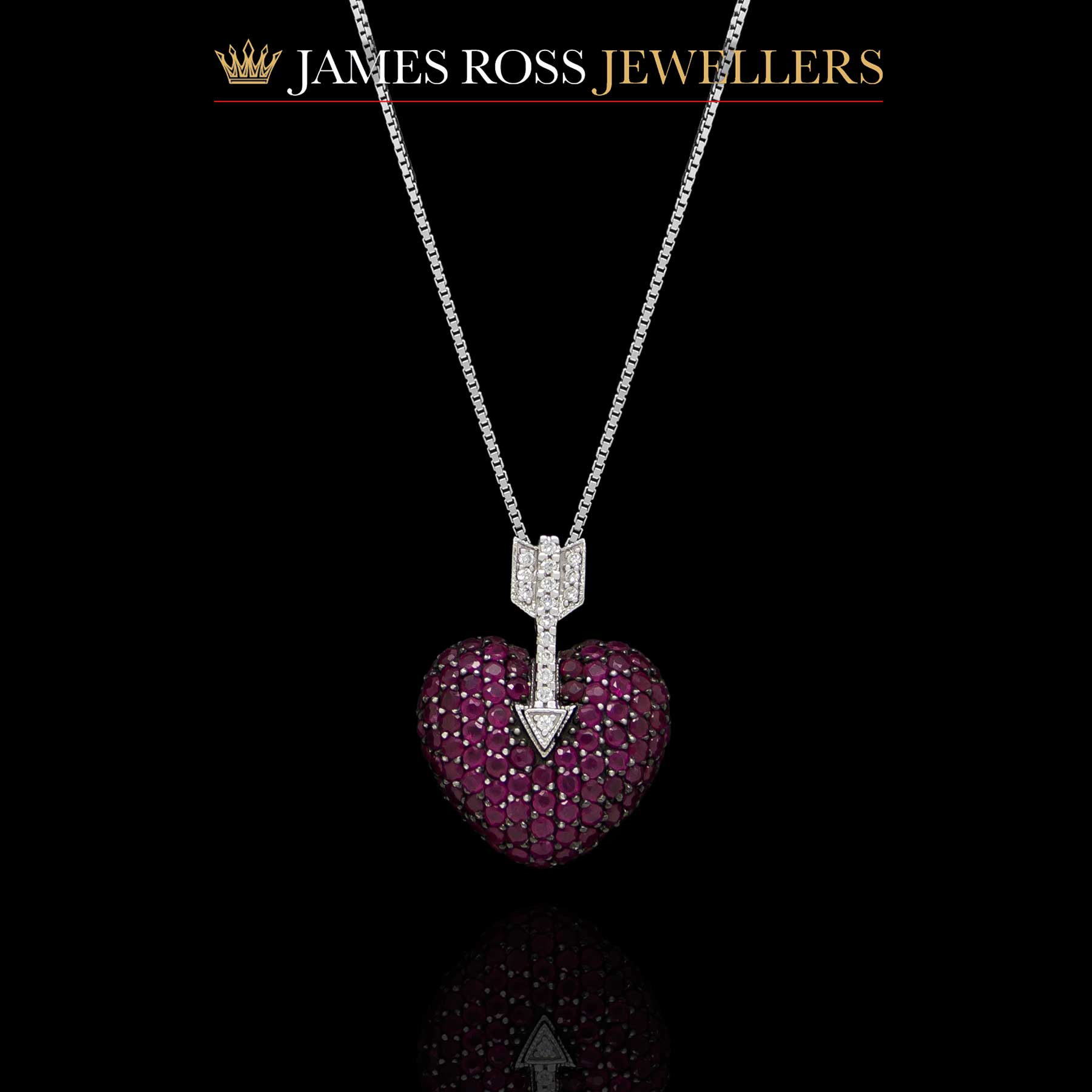 18dd0eb1c95b 18ct white gold ruby and diamond hearts and arrows pendant
