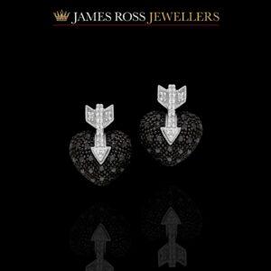 Diamond Black arrow heart earrings