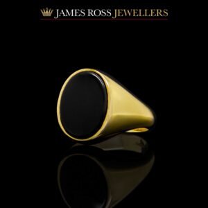 9ct gold gents heavy onyx signet ring