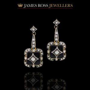 9ct gold onyx and diamond vintage style drop earrings