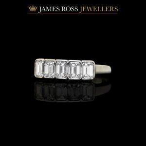 Platinum emerald cut diamond ring 1.25 carats