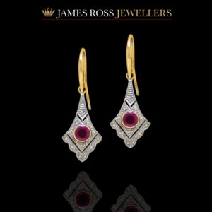 9ct gold ruby and diamond vintage style drop earrings