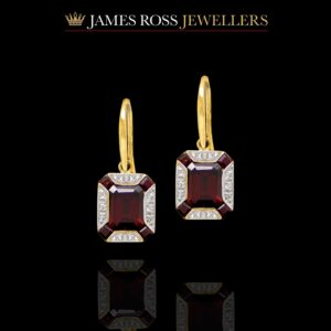 9ct gold garnet and diamond vintage style drop earrings