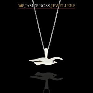 Sterling silver Seagull pendant and chain with sapphire eye