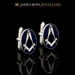 Sterling silver blue enamelled masonic cufflinks