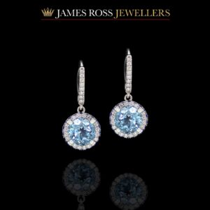 18ct white gold sapphire diamond and blue topaz drop earrings