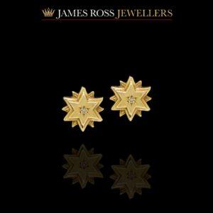 Vintage 9ct gold diamond stud earrings