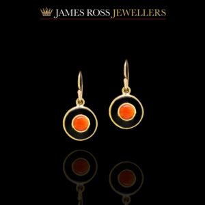 9ct gold vintage style onyx and coral drop earrings