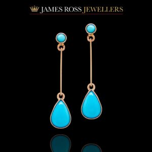 9ct rose gold turquoise drop earrings