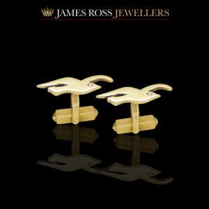 9ct gold Seagull cufflinks with diamond eyes