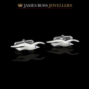 Sterling silver Seagull cufflinks with sapphire eyes